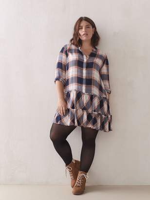 Plaid Babydoll Mini Dress - Addition Elle
