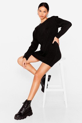 Nasty Gal Womens Let Knit Happen Shoulder Pad Jumper Dress - Black - S