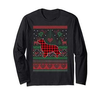 Golden Retriever Ugly Christmas Red Plaid-Christmas Gift Long Sleeve T-Shirt
