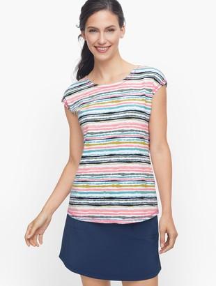 Talbots Crisscross Back Tee - Painterly Stripe