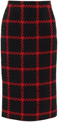 Alessandra Rich High-rise Checked Tweed Pencil Skirt - Womens - Black Red
