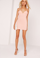 Missguided Petite Strappy Plunge Bodycon Dress Nude
