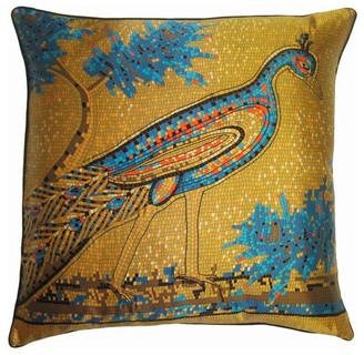 Filos Design Mosaic Peacock Decorative Pillow