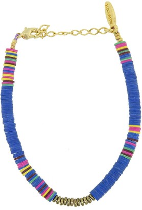 Allthemust Electric Blue Heishi Bead Bracelet - Yellow Gold