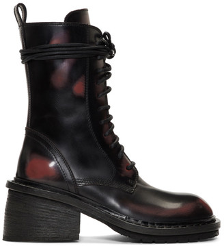 Ann Demeulemeester Black and Red Combat Boots
