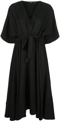 Natori drawstring-waist V-neck dress