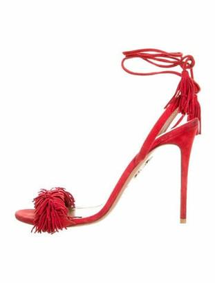 Aquazzura Suede Fringe Trim Accent Sandals Red
