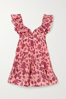 Zimmermann The Lovestruck Ruffled Floral-print Plisse-crepe Mini Dress