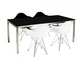 R & V Living Lilia Dining Table Black Glass