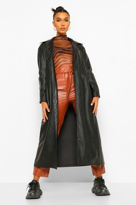 boohoo Faux Leather Trench Coat