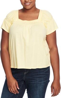 CeCe Square Neck Cotton Blend Top