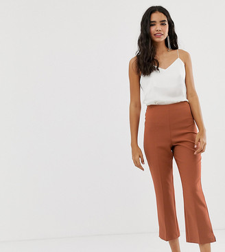 Miss Selfridge kickflare ankle grazer pants in beige