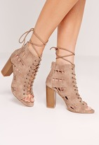 Missguided Side Stitch Block Heeled Sandals Brown