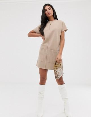 ASOS DESIGN exposed seam super soft t-shirt dress in camel