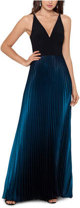 Betsy & Adam Ombre Pleated Gown