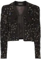 Isabel Marant Felipe Leather-Trimmed Embellished Linen-Blend Jacket