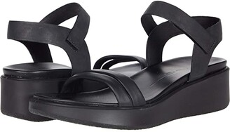 Ecco Flowt Luxe Wedge Sandal (Black/Black Cow Leather/Cow Nubuck) Women's Shoes