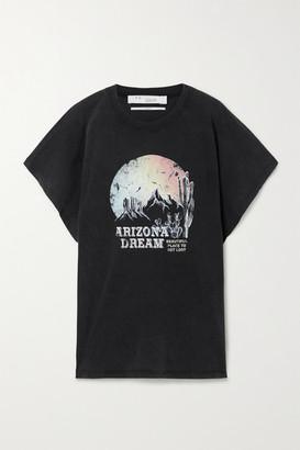 IRO Smoky Oversized Distressed Printed Cotton-jersey T-shirt - Charcoal