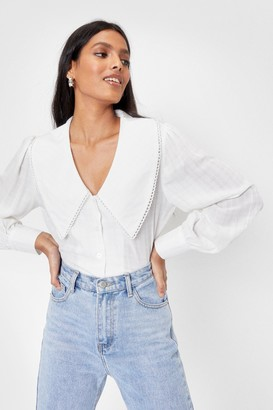 Nasty Gal Womens Collar You Back Relaxed Shirt - White - 4
