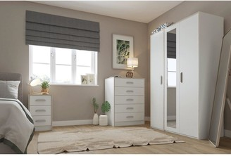 Brianne Part Assembled4 Piece Package - 3Door Mirrored Wardrobe, 5 Drawer Chest and 2 Bedside Chests