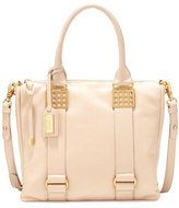 Badgley Mischka Ally Pebbled-Leather Shoulder Bag, Latte
