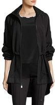 St. John Mesh-Inset Twill Anorak Jacket, Black