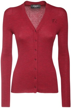 Rochas Logo Embroidery Knit Wool Cardigan