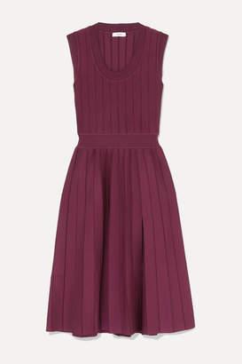 CASASOLA - Ribbed Pleated Stretch-knit Midi Dress - Burgundy