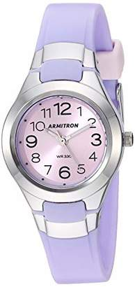 Armitron Sport Women's Easy to Read Silver-Tone and Matte Lavender Resin Strap Watch