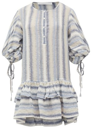 Binetti Love Only Yesterday Striped Cotton Mini Dress - Womens - Blue Stripe