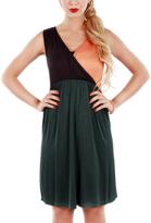 Aster Orange & Green Surplice Empire-Waist Dress - Plus Too