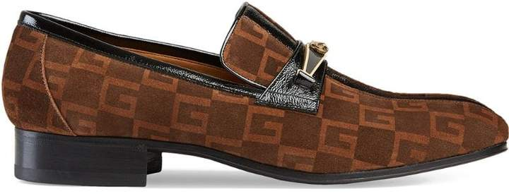 Gucci Suede Square G loafers with stripe
