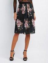Charlotte Russe Floral Micro Pleated Midi Skirt