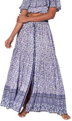 MC2 Saint Barth Violet Flower Gipsy Print Long Skirt
