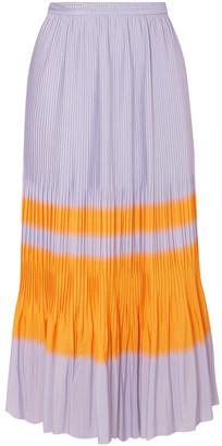 Dries Van Noten Striped Pleated Crepe Midi Skirt