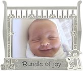 """Malden Baby Sentiments Bundle of Joy Two Tone Silver Picture Frame, 3.5"""" x 5"""" - Silver"""