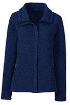 Lands' End Women's Petite Sweater Fleece Jacket-Cranapple Heather