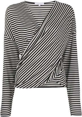 Patrizia Pepe Striped Wrap Blouse