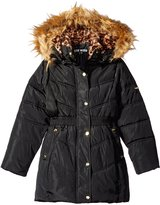 Steve Madden Big Girls' Bubble Jacket with Faux Fur Trimmed Hood