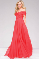 Jovani Off the Shoulder Long Chiffon Prom Dress 42003
