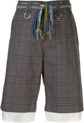R 13 Checked Print Shorts