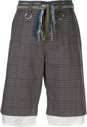 R 13 Checked Print Shorts
