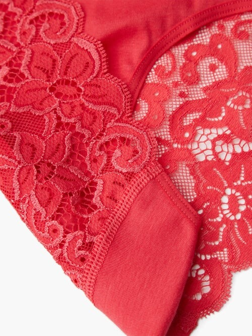 Thumbnail for your product : Hanro Moments Lace And Cotton-blend Jersey Briefs - Pink