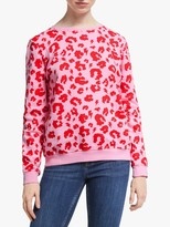 Scamp & Dude Unisex Crew Neck Leopard Print Sweatshirt, Pink/Red