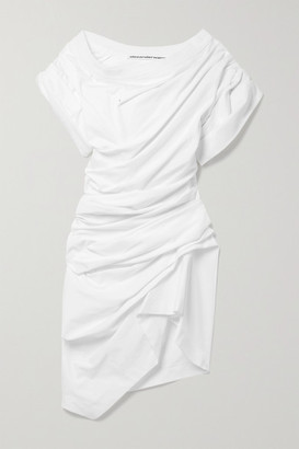Alexander Wang - Asymmetric Gathered Cotton-jersey Mini Dress - White