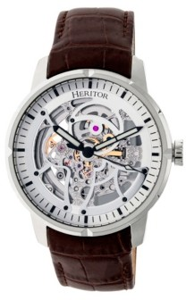 Heritor Automatic Ryder Brown & Silver & Silver Leather Watches 44mm