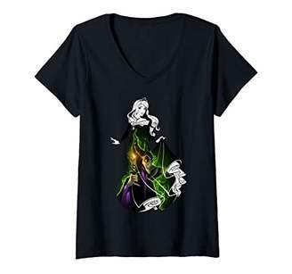 Disney Womens Sleeping Beauty Aurora Dress Silhouette Fill V-Neck T-Shirt