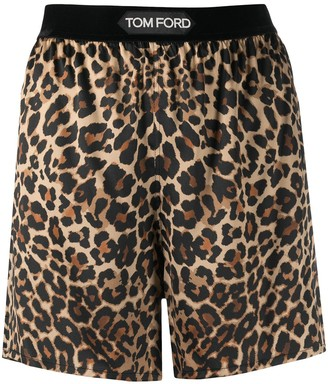 Tom Ford Leopard Print Silk Shorts