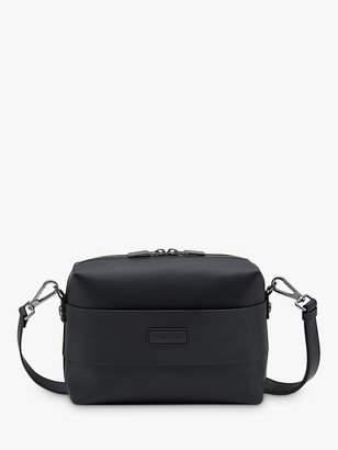 Hunter Rubberised Leather Crossbody Bag, Black