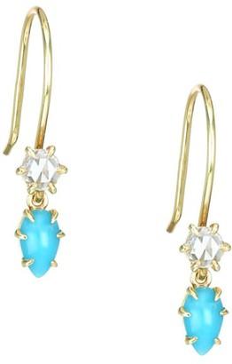 Ila Primary 14K Yellow Gold Diamond & Turquoise Earrings